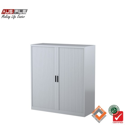 Ausfile tambour door cabinets silver grey 1340mm H x 1200mm W