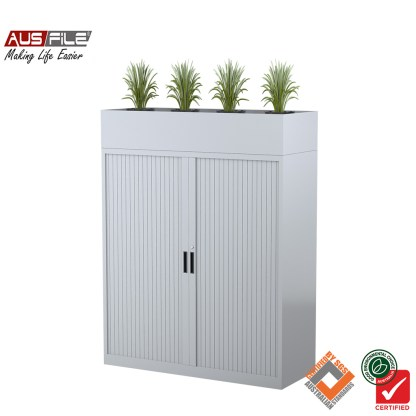 Ausfile tambour door cabinets silver grey 1340mm H x 900mm W with planter box