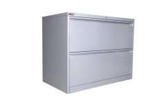 Lateral Filing Cabinet. 2 Drawer. Silver Grey