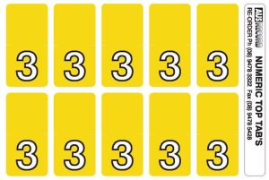 Top Tab Number labels. Sheet of 3