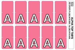 Top tab alphabet labels. Sheet of A