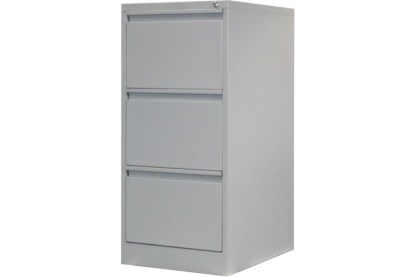 3 drawer steel filing cabinet in grey