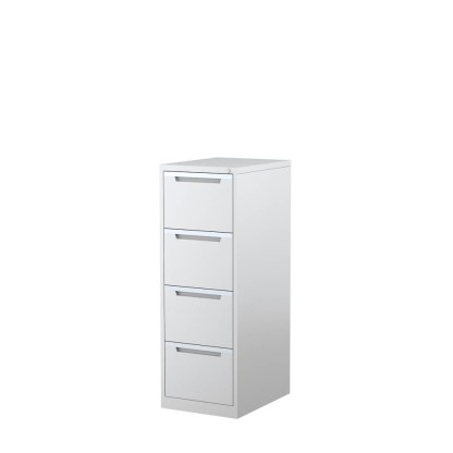 STEELCO 4 Drawer Vertical Filing Cabinet 1320H x 470W x 620D White Satin