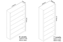 Static shelving in various sizes