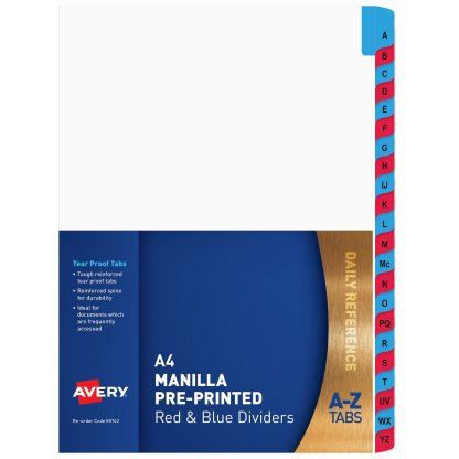 avery 85742 mylar a-z dividers pack