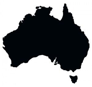 map of Australia black & white