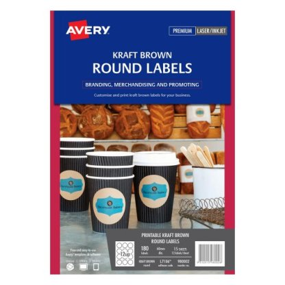 avery 980002 L7106 round kraft labels 180 pack laser inkjet