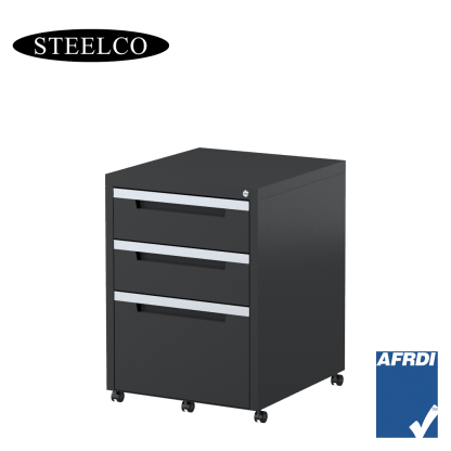 STEELCO Classic Mobile Pedestal Graphite Ripple 2 Box Drawers 1 File Drawer