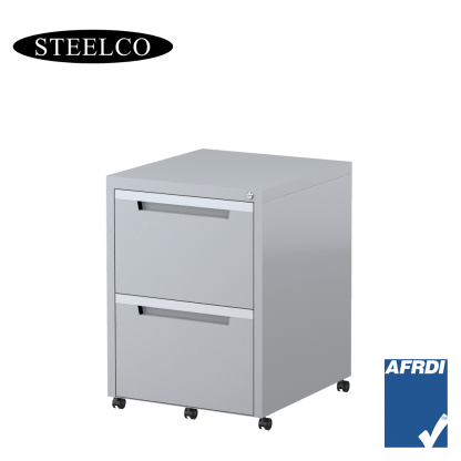 STEELCO Classic Mobile Pedestal Silver Grey 2 File Drawers