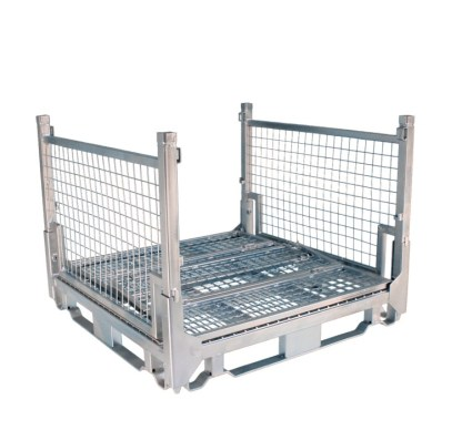 Pallet Cage Type A Single Medium Mesh Floor Zinc Plated two full sides down