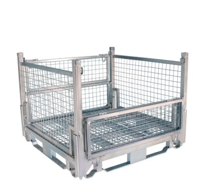 Pallet Cage Type A Single Medium Mesh floor hot dip galvanised one side half down