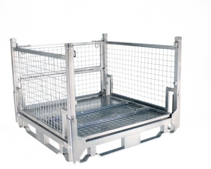 Pallet Cage Type A Single medium sheet steel floor zinc plated three full sides up
