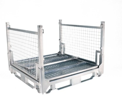 Pallet Cage Type A Single medium sheet steel floor zinc plated two sides folded down