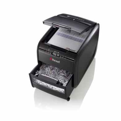 Rexel Auto+ 60X Shredder bin open front quarter