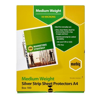 MARBIG® 25101 SHEET PROTECTORS MEDIUM WEIGHT A4 SILVER STRIP 100BX