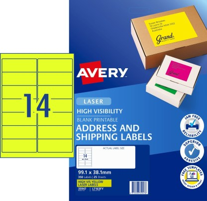 Avery 35947 Fluoro Yellow High Visibility Shipping Labels