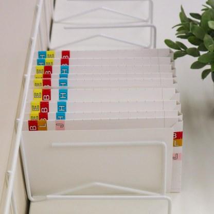 ausrecord script file labels along top edge for drawer storage