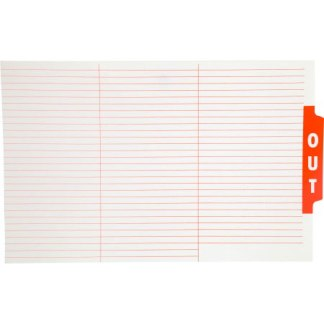 Ausrecord file out guide card red foolscap