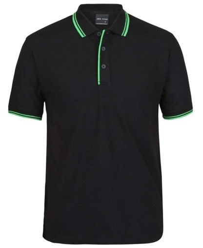 Contrast Polo - Black Pea Green