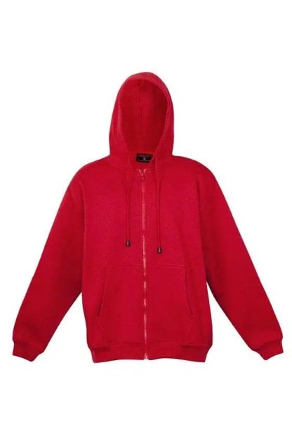 Kangaroo Pocket Hoody Full Zip Red