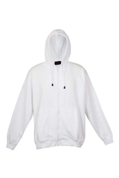 Kangaroo Pocket Hoody Full Zip White