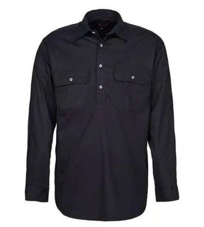 Pilbara Half Button Shirt - Long - Black