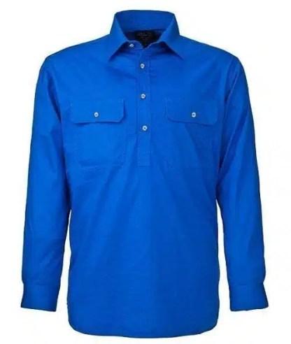 Pilbara Half Button Shirt - Long - Cobalt