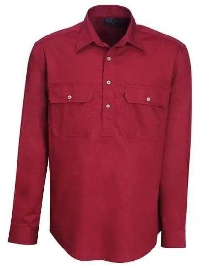 Pilbara Half Button Shirt - Long - Ochre