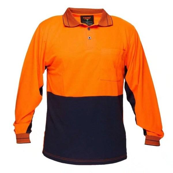 Hi Vis Polo Shirt Long Sleeve - Orange Navy