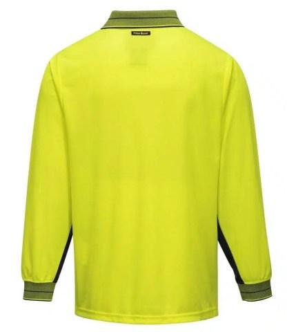 Hi Vis Polo Shirt Long Sleeve back view