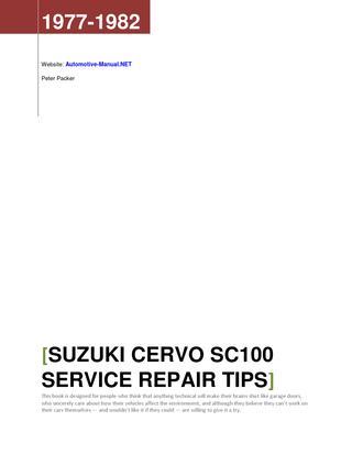 Download Suzuki Cervo SC100 1977-1982 Workshop Service