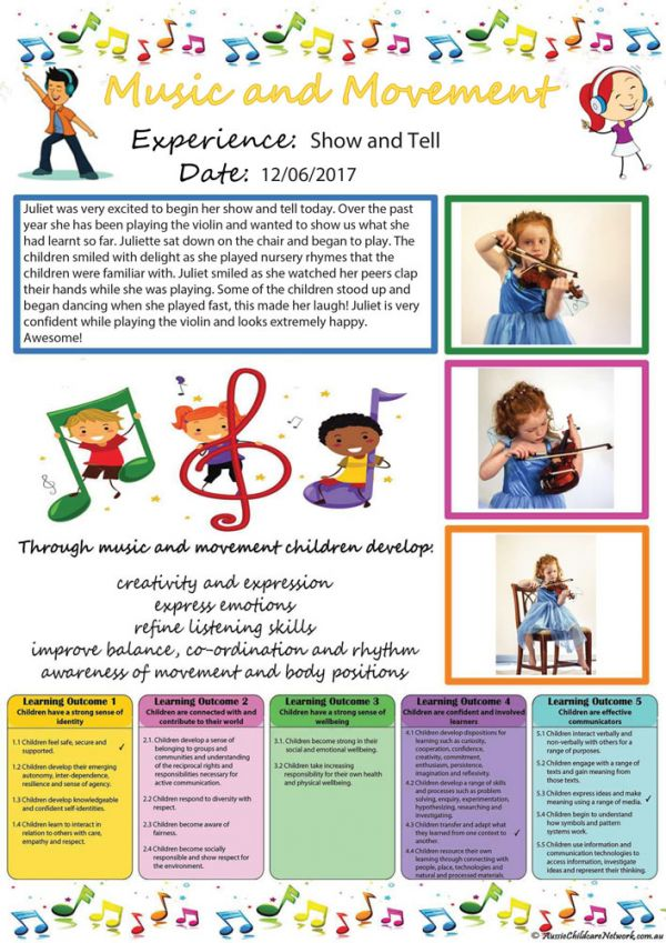 Music And Movement Observation Template Aussie Childcare Network