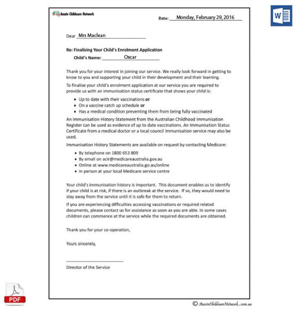 Vaccination Letter Template For New Enrolments Aussie