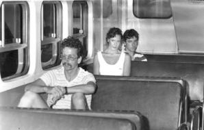1986 Debbie Wallace re-enactment of Anita Cobby's last hours. Photo shows Debbie on a train from Central railway station to Blacktown, 9 February 1986.