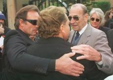Victims of crime supporting each other...Ken Marslew (centre), the father of murdered Pizza Hut worker Michael, is comforted outside court in June by Peter Simpson (left), father of murdered Ebony Simpson, and Garry Lynch (right), the father of Anita Cobby.