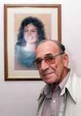 Garry Lynch stands in front of a portrait of his murdered daughter, Anita Cobby, 7 May 1996.