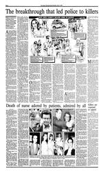 Newspaper page, 'The breakthrough that led police to killers', and 'Death of nurse adored by patients, admired by all