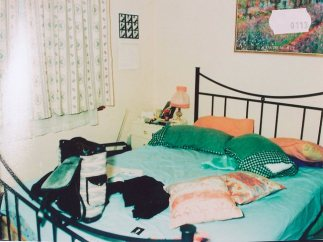 Police photograph of a bedroom in Elisabeth Membrey's flat following her disappearance and suspected murder in 1994.