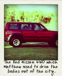 The Red Nissan 4WD which Matthew used to drive the bodies out of the city.-aussiecriminals