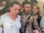 News Corp journalist Cindy Wockner, right, during the Schapelle Corby court case in Bali