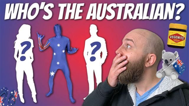 "image shows pete smissen looking shocked at three figures, one of whom is australian, and the text ""who's the australian"""