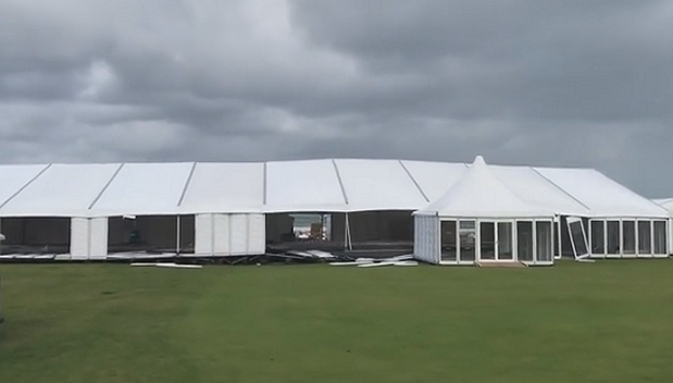 Watch this golf tent get destroyed in storm at St.Andrews