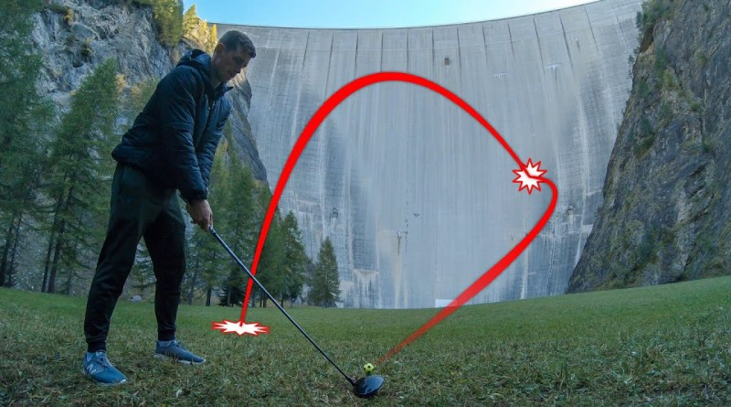 Hitting and catching golf balls hit off a dam wall: video