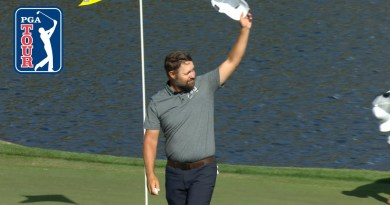 Ryan Moore slam dunks an ace at the 17th at TPC Sawgrass