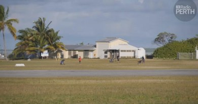 Cocos Islands airport runway doubles as part of local golf course
