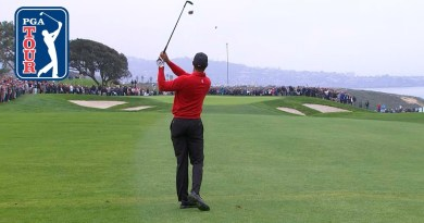 Watch Tiger Woods' golf ball bounce out of the hole