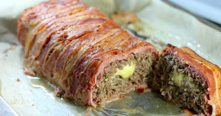 Keto Meatloaf – Bacon Wrapped and Cheese Stuffed!