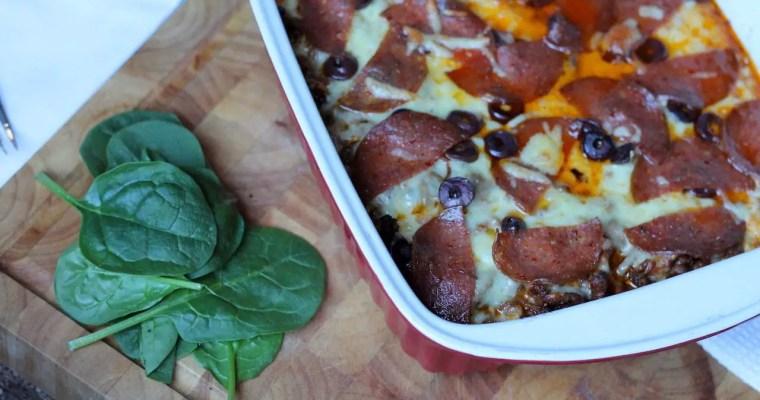 Keto Pizza Casserole with Cauliflower