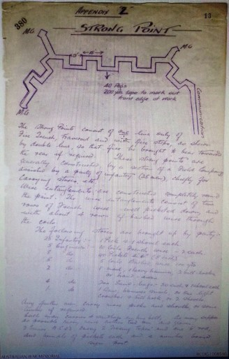Strong Point deatils Unit Diaries July 1916