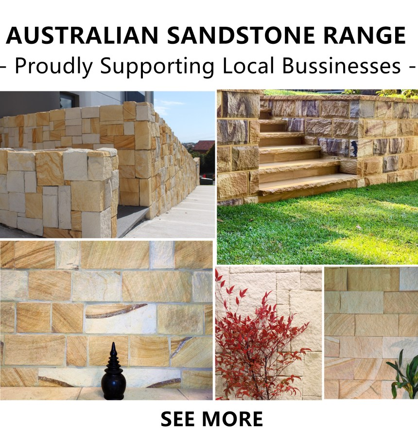 "Sandstone walling and landscaping products from Australian sandstone quarries, writing ""proudly supporting local businesses"""